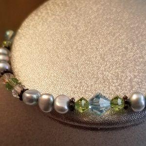 Jewelry - Silver-Blue, Green, Blue, & Clear Bead Bracelet